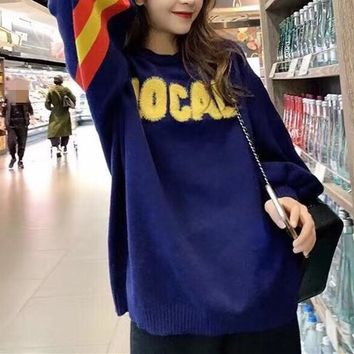 Women Personality Multicolour All-match Stripe Fashion Letter Logo Embroidery Long Sleeve Sweater Tops