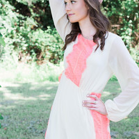 There Goes Your Heart Neon Coral and Ivory Dress