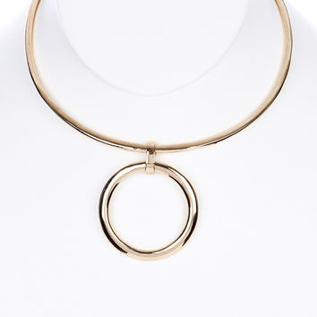 """11.50"""" gold 1.75"""" ring pendant choker necklace"""