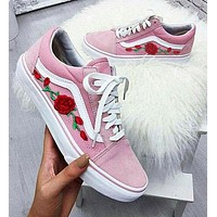Vans Fashion Rose Embroidery Flats Shoes Sneakers Sport Shoes