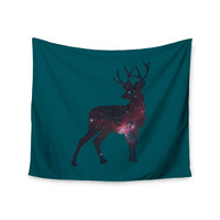 "Alias ""Deer In The Starlight"" Teal Pink Wall Tapestry"