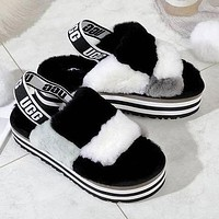 UGG Fashion New Color-blocking Plush Platform Slippers Sandals Furry Boots Shoes-5