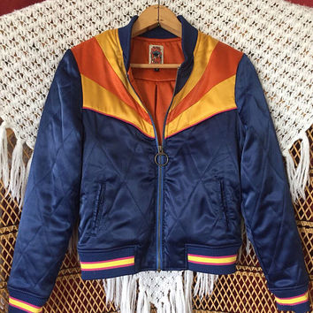 Rising Sun Bomber Jacket PREORDER SALE   as seen on @classicrockcouture Instagram Navy Blue and gold 1970s retro Bomber quilted ski Jacket