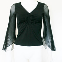 90s bell sleeve Pleated SHEER Flare Sleeve BLACK Shirt / goth witchy top