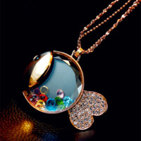 Floating Crystals Gold Fish Fashion Necklace