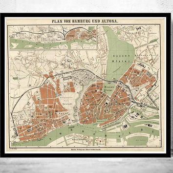 Old Map of Hamburg and Altona, Germany 1880