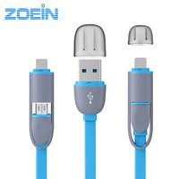 2016 Colorful Micro USB Cable 8Pin 2 in 1 Sync Data Charging USB Cable for iPhone 5 5s 6 6s plus IOS 9 Charger Cable For Samsung