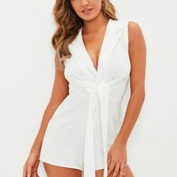 Missguided - White Sleevless Tie Front Lapel Romper