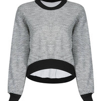 Cropped Sweatshirt in Grey and Black