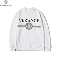 Versace 2019 new printed letter couple loose round neck casual long-sleeved sweater white