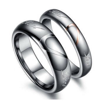 Tungsten Carbide Lover's Matching Heart Promise Real Love Couples Rings = 1930042884