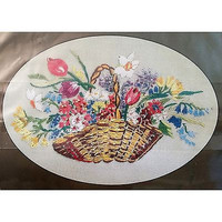 Basket of Flowers Embroidery Kit 4.75x6.75 inch Vintage Design Perfection c1223