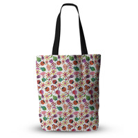"""Jane Smith """"Garden Floral"""" Plants Bugs Everything Tote Bag"""