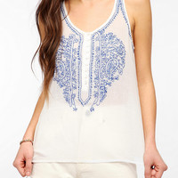 Urban Outfitters - Patrons Of Peace Embroidered Linen Tank Top