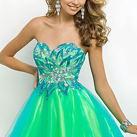 Short Strapless Sweetheart Prom Dress by Blush