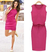 Pure Color Patchwork Shift Summer Fashion Women Casual Dress Roound Neck Sleeveless Solid Slim Dresses