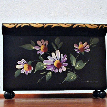 Metal Tole Napkin Holder Mail Letter Holder Hand Painted 1960's Black with Daisies Flowers Floral Design Vintage