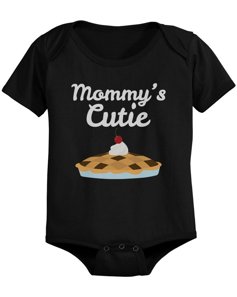 Image of Mommy's Cutie Pie Baby Bodysuit Cute Infant Black Onesuit Gift for Baby Shower