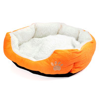Orange Fleece Plush Pet Bed