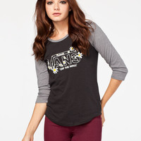 Vans Daisy Womens Baseball Tee Black/Grey  In Sizes