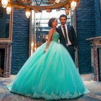 new 2016 Mint Long Tulle Beaded Appliques Ball Gown Prom Dresses Princess Sweetheart Teens Big Party Gowns Formal Wear