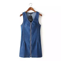 Denim Blue Sleeveless Zipper Dress