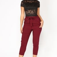 Work It Waist Tie Pants - Burgundy