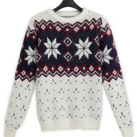 White Fair Isle Knitted Sweater in Mohair