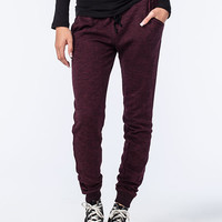 Full Tilt Essential French Terry Marled Womens Jogger Pants Wine  In Sizes