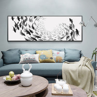 Modern Simple Black and White Thousands of Fish A4 Print Poster Image Canvas Mural Living Room Bedroom Painting AN081