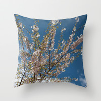 Joy of life! Spring pink cherry blossom tree against blue sky.  Throw Pillow by NatureMatters