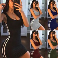 Sexy Women Summer Dress Bandage Bodycon Sleeveless Evening Party Club Short Mini Dress 2019 Fashion Women designer clothes