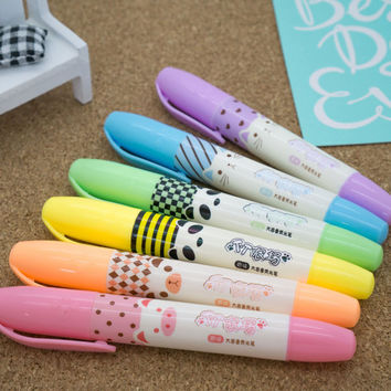 Cute highlighter set - scented with animal picture (6 pcs/set)