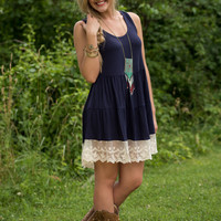 In Lace You Need Me Dress - Navy