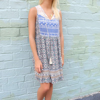 Cable Beach Front Tie Mixed Print Sleeveless Peasant Dress