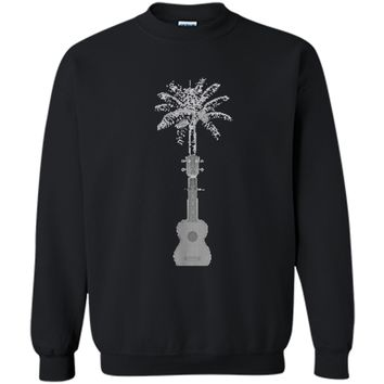 Funny Palm Tree Ukulele Shirt Beach Music Lover Cool T-shirt Printed Crewneck Pullover Sweatshirt