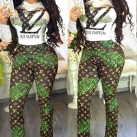 LV Louis Vuitton new sexy women's casual long-sleeved trousers two-piece