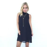 Tied To No One Shift Dress In Black