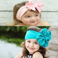 High Quality Baby Girls Big Bow Hairband Kids Headband Stretch Turban Knot Head Wrap Hats & Caps Baby Newborn Baby Photo Props