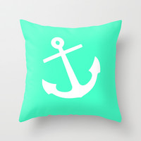 Mint Anchor Throw Pillow by M Studio