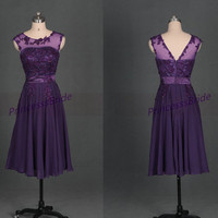 Grape chiffon homecoming dress with applique lace,2014 chic tea length prom gowns for holiday party,latest cheap bridesmand dress under 100.