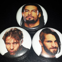 The Shield (Dean Ambrose, Roman Reigns, Seth Rollins) Pinback Button or Magnet set (You choose - Pin or Magnet set or singles)