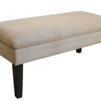 Contemporary Storage Bench Removable Legs Tan Upholstery Living Room Furniture