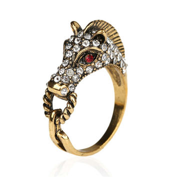 Fashion Casual Women Horse Ring Vintage Handmade Jewelry Mens Girls Ring Unique Best Christmas Gift Rings-58