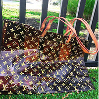 LV Louis Vuitton Fashion Transparent jelly Shopping Bag Leather Shoulder Bag Satchel Tote Two Piece Set Brown