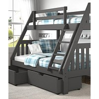 Lila Modern Grey Bunk Bed with Storage