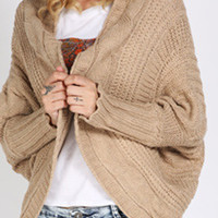 Khaki Long Sleeve Trimmed Cardigan