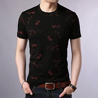 Men Cotton Men's Shirt Summer O-Neck T-shirt Men Streetwear Short Sleeve Tee Shirt Homme Floral Top
