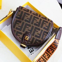 FENDI Stylish Popular Women Shopping Leather Shoulder Bag Cowhide Crossbody Satchel