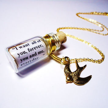Precious Quote in a Bottle necklace. The Notebook by Nicholas Sparks. Gold Free Shipping. Buy  2 necklaces and 3rd one is free